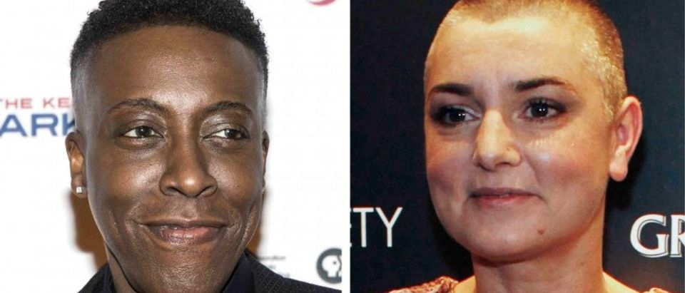Comedian Arsenio Hall is shown in Los Angeles and Irish recording artist Sinead O'Connor is shown in New York in this combo photo