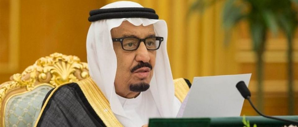 Saudi King Salman delivers a brief statement as Saudi Arabia's cabinet agrees to implement a broad reform plan known as Vision 2030 in Riyadh