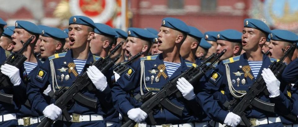 Russian servicemen march during the Victory Day parade, marking the 71st anniversary of the victory over Nazi Germany in World War Two, at Red Square in Moscow