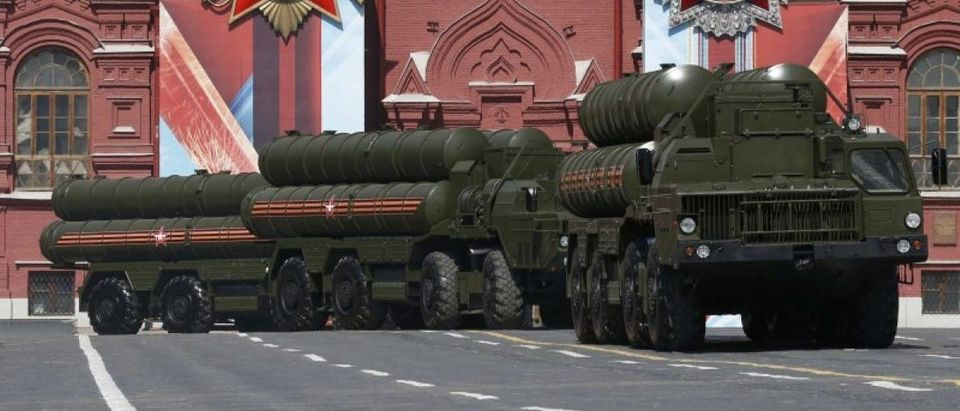 Russian S-400 Triumph medium-range and long-range surface-to-air missile systems drive during Victory Day parade to mark end of World War Two at Red Square in Moscow