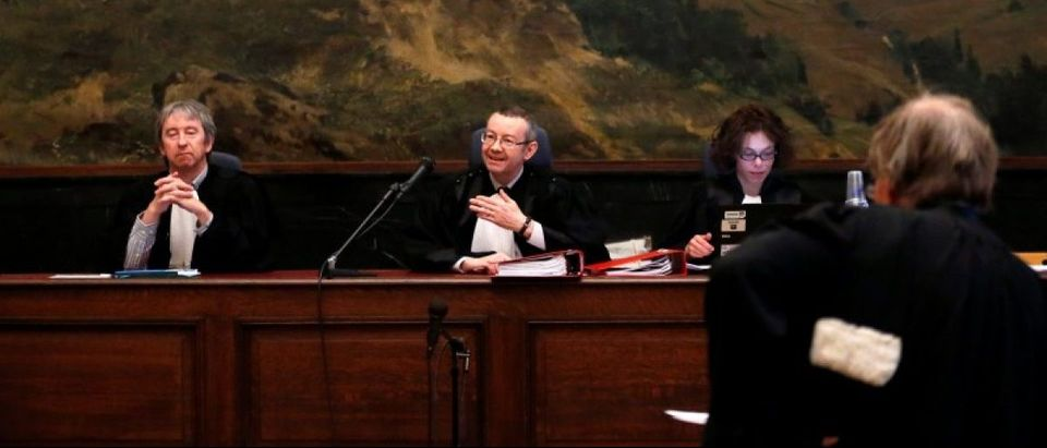 Belgian judge Pierre Hendrickx (C) presides the trial of suspects in foiled Islamist attack plot in the town of Verviers last year, at the Brussels Palace of Justice, Belgium, May 9, 2016. REUTERS/Francois Lenoir