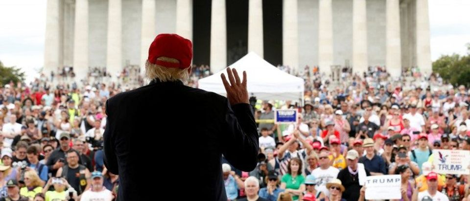 Trump addresses the Rolling Thunder motorcycle rally to highlight POW-MIA issues on Memorial Day weekend in Washington