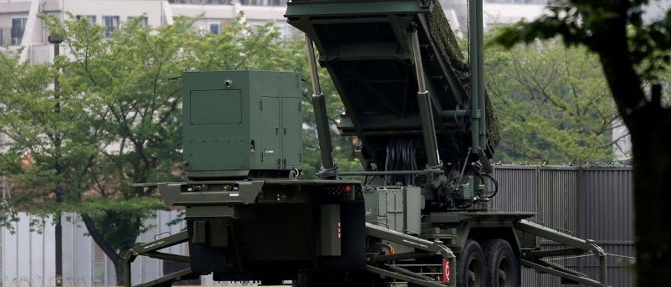 PAC-3 missile is seen at the Defense Ministry in Tokyo