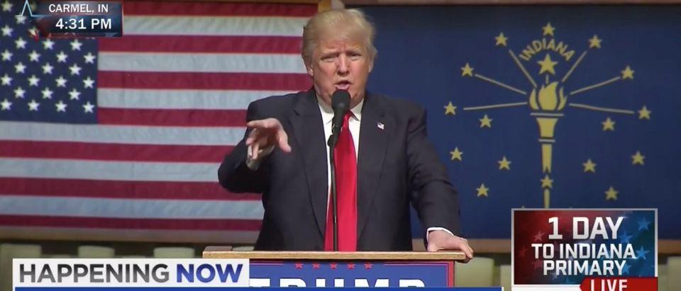 Donald Trump, Carmel, Indiana, Screen Shot MSNBC, 5-2-2016