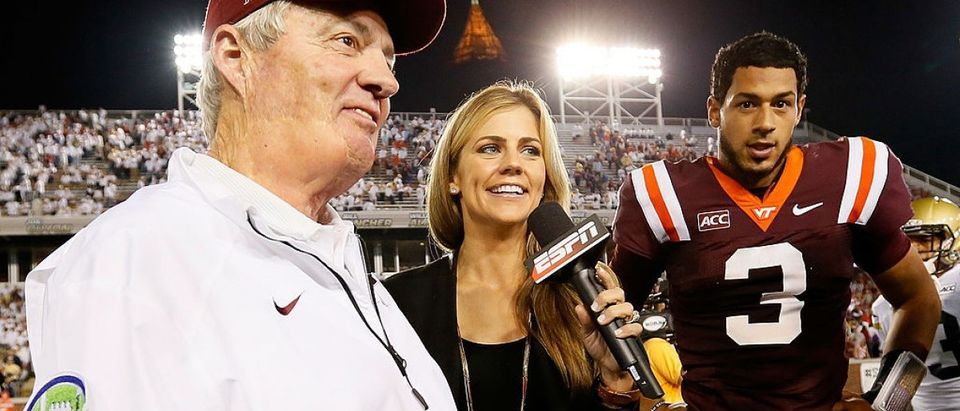 ESPN reporter Samantha Ponder interviews head coach Frank Beamer and Logan Thomas #3 of the Virginia Tech Hokies after their 17-10 win over the Georgia Tech Yellow Jackets at Bobby Dodd Stadium on September 26, 2013 in Atlanta