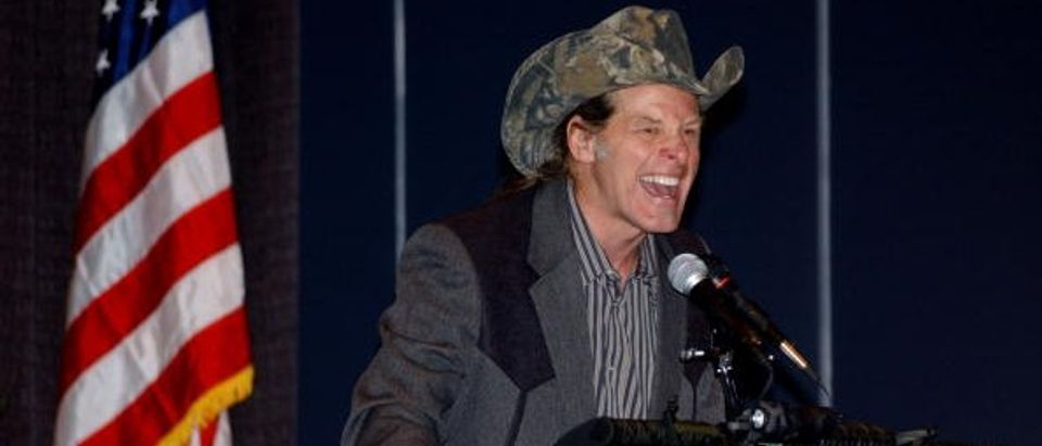 Ted Nugent, a member of the National Rifle Association board of directors and an avid hunter delivers a speech to conventioneers entitled 'God, Guns, and Rock 'n Roll - Celebrate the American Dream and the Second Amendment' at the 133rd Annual NRA Convention being held at the David L. Lawrence Convention Center on April 18, 2004 in Pittsburgh, Pennsylvania