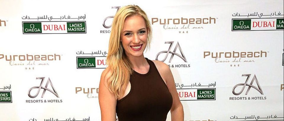 Paige Spiranac of the United States during the welcome party at the Puro Beach Pool area at the Jebel Ali Golf Spa Resort as a preview for the 2015 Omega Dubai Ladies Masters on the Majlis Course at The Emirates Golf Club