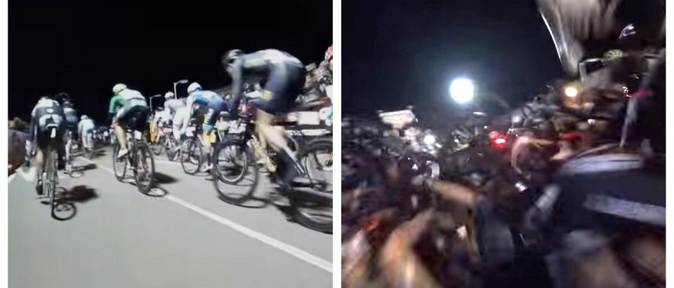 Guess What Happens When A Motorcycle Stalls Out On A Crowded Race Track (YouTube)