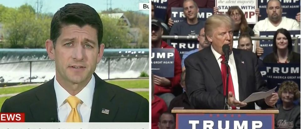 Paul Ryan, Donald Trump, Screen Shot CNN, MSNBC