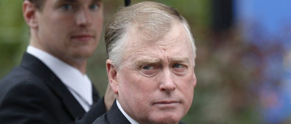 Former United States Vice President Dan Quayle arrives for funeral services of U.S Senator Edward Kennedy at the Basilica of Our Lady of Perpetual Help in Boston