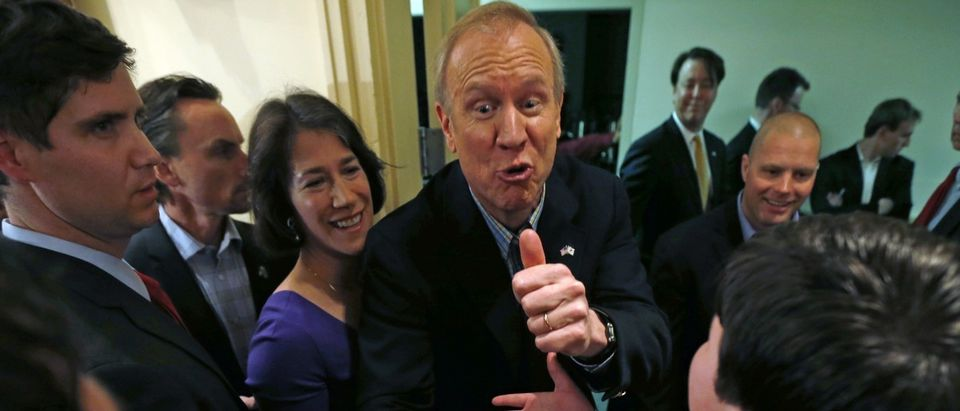 Republican candidate for Illinois Governor Rauner greets supporters in Chicago
