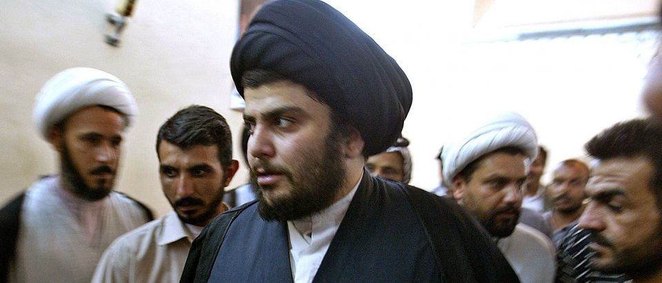 IRAQI SHI'ITE CLERIC MOQTADA AL-SADR ARRIVES AT NEWS CONFERENCE IN NAJAF.