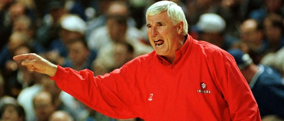 University of Indiana's head basketball coach Bobby Knight yells instructions to his team during the first quarter of their NCAA game with the University of Kentucky December 8 at Freedom Hall in Louisville, Kentucky. This was Knight's 1000th game as a coach in the NCAA. JPS/LJM/ELD - RTRYBEY (Reuters)