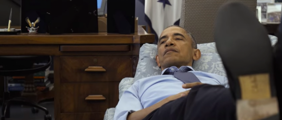 Couch Commander-in-Chief Obama takes a break (Photo via Amazon)