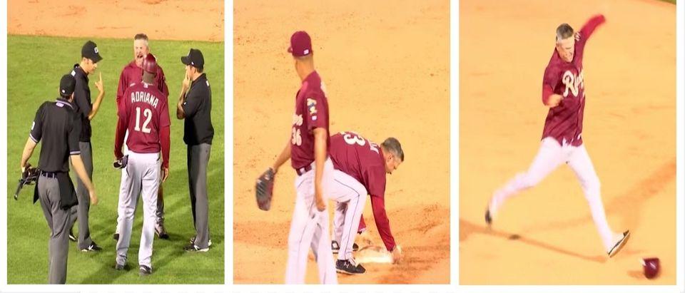 Rate This Baseball Manager's Base-Stealing, Helmet-Kicking Meltdown (Tulsa Drillers YouTube)