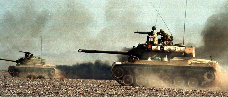 Iranian tanks roll during the Zolfaghar-2 war games (Credit: Reuters)