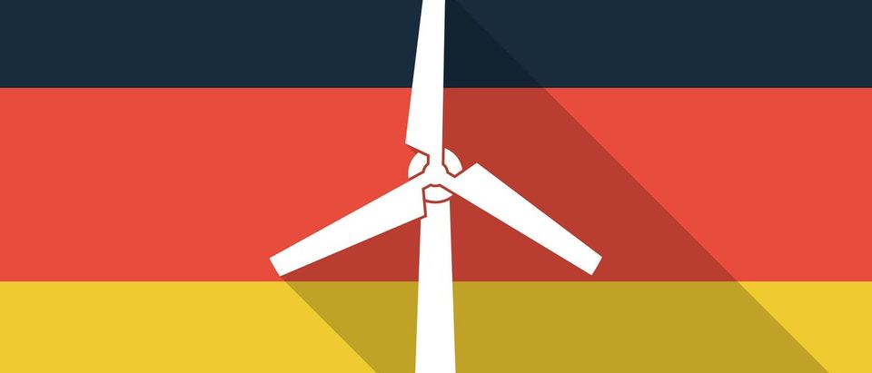 Illustration of a Germany long shadow flag with a wind generator Shutterstock.com/Blablo101