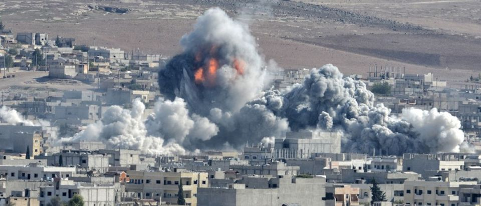 Coalition forces hitting to ISIS target in Kobani discirt in Syria, 22 October 2014, Suruc, Turkey. (Credit: Orlok/Shutterstock)
