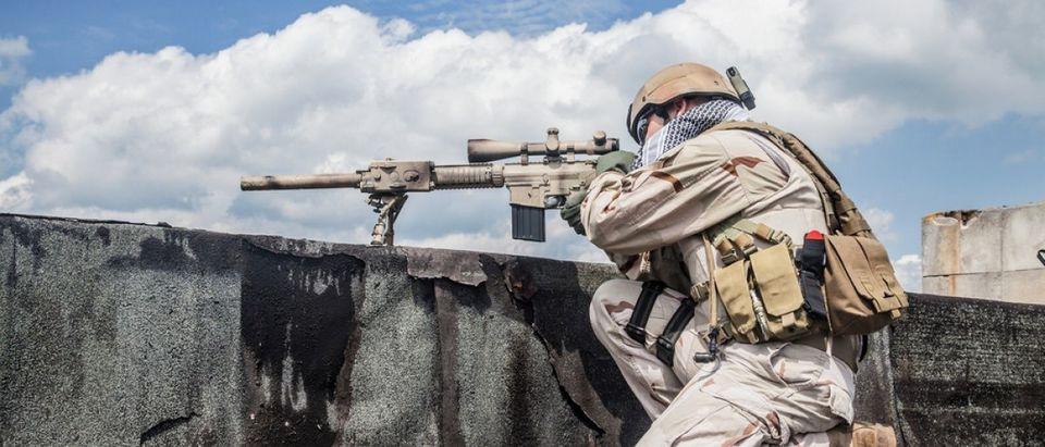 SEAL aims down his sight. Source: Oleg Zabielin/Shutterstock