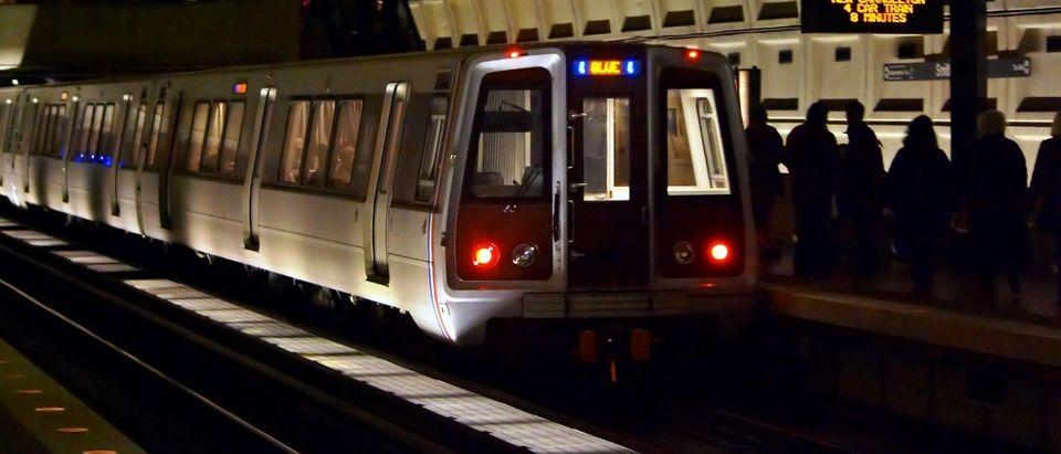 DC Metro train pulls into station.