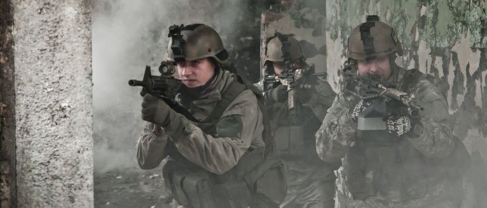 Soldiers in smoke