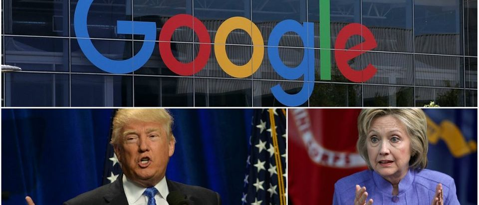 Google responds to Anti-Trump, Pro-Clinton allegations. (Getty Images/Justin Sullivan, Chip Somodevilla, Darren McCollester)