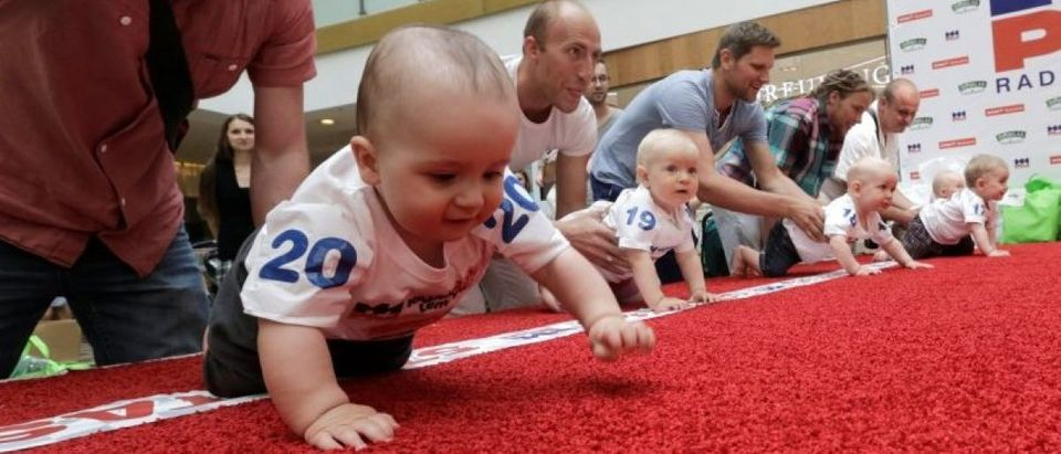 Babies crawl during the Baby Race to mark international Children's Day in Vilnius