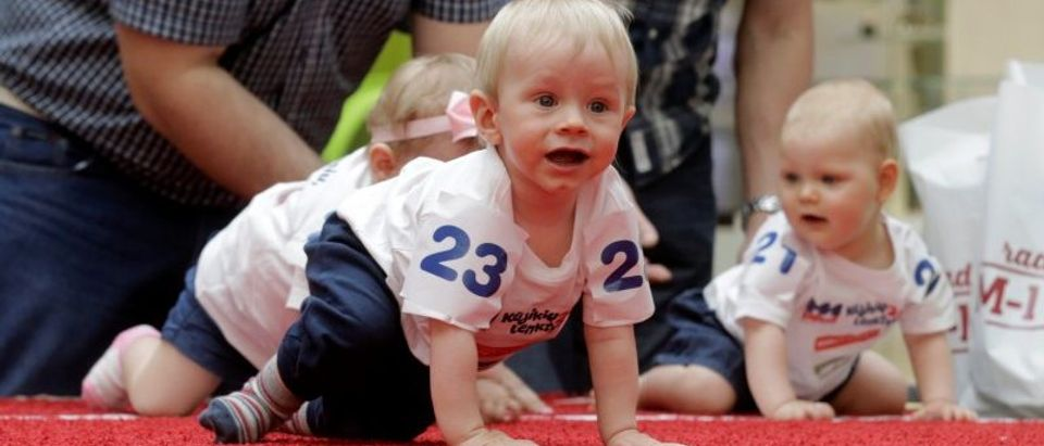 Babies take part in the Baby Race to mark international Children's Day in Vilnius