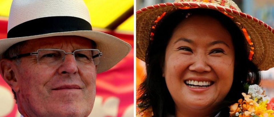 A combination photo shows Peru's presidential candidates (L-R) Pedro Pablo Kuczynski and Keiko Fujimori attending election rallies in Lima and Huacho