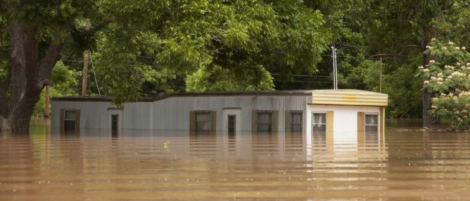 Mobile home park flooded following heavy rains in Richmond, Texas