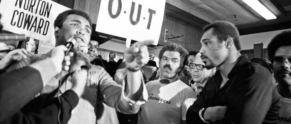 Muhammad Ali and his entourage try to wind up Ken Norton ahead of their third fight in New York