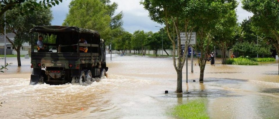 Emergency crews patrol Fort Bend County after heavy rainfall caused the Brazos River to surge to its highest level causing flooding outside Houston