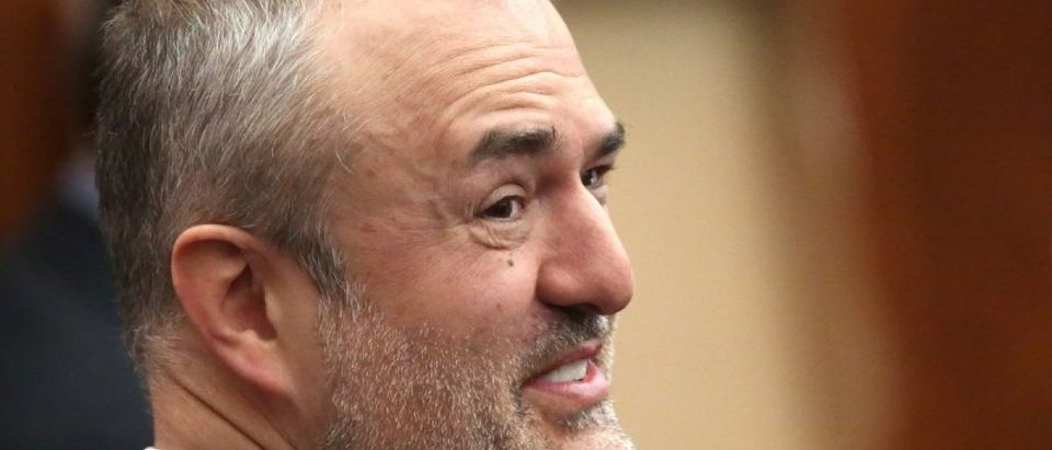 Nick Denton founder of Gawker talks with his legal team in court in St Petersburg Florida