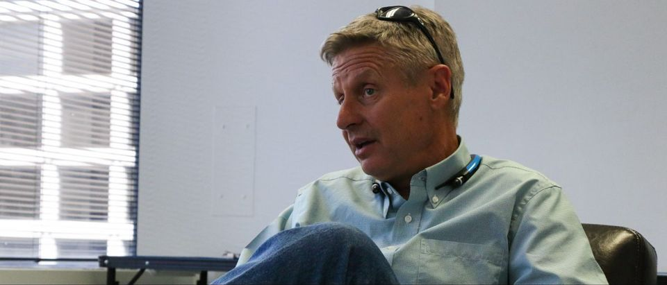 Libertarian Party presidential nominee Gary Johnson is interviewed June. 7, 2016 in The Daily Caller Lounge. (Katie Frates)