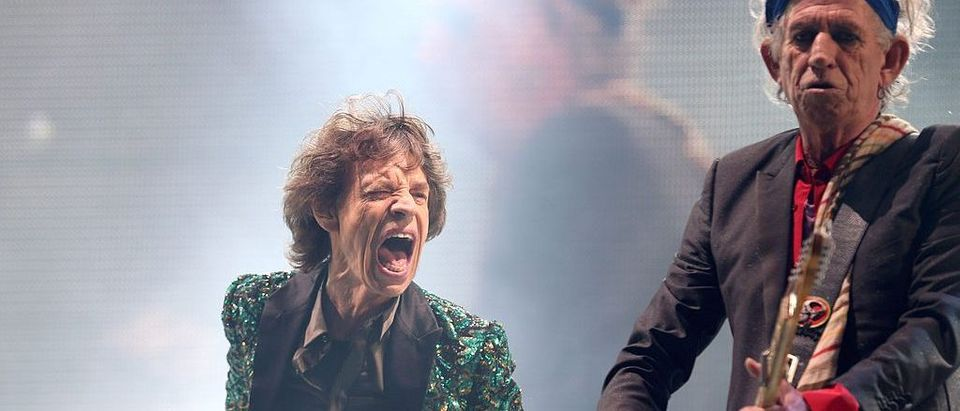Sir Mick Jagger and Keith Richards at Glastonbury Festival (Photo by Matt Cardy/Getty Images)
