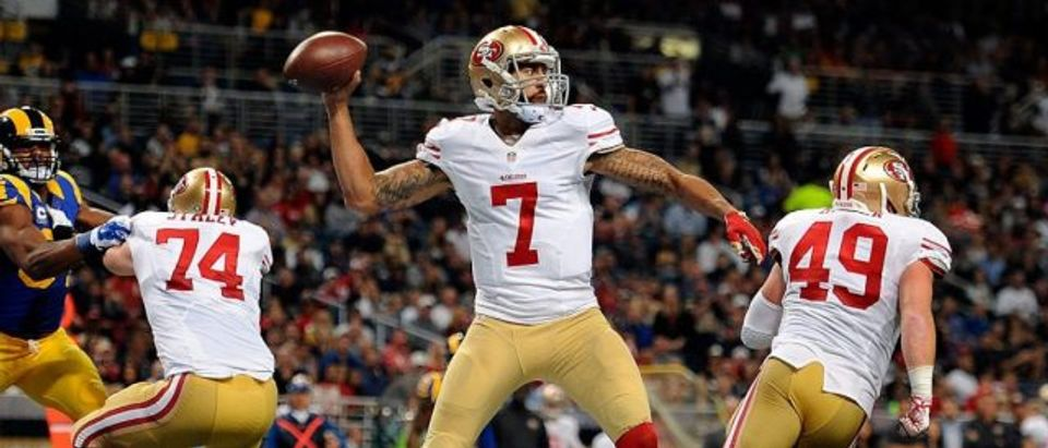 Colin Kaepernick of the San Francisco 49ers throws a pass against the St. Louis Rams in the second quarter at the Edward Jones Dome on November 1, 2015 in St. Louis, Missouri.