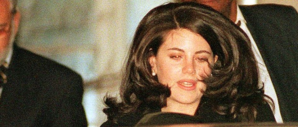 Monica Lewinsky leaves the Cosmos Club with her at