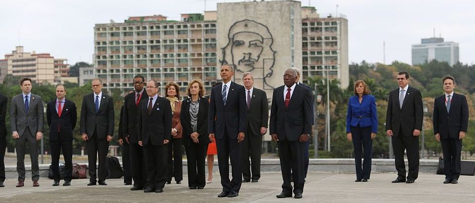 President Barack Obama attends a wreath-laying ceremony at Jose Marti monument in the Revolution Palace of Havana, Cuba