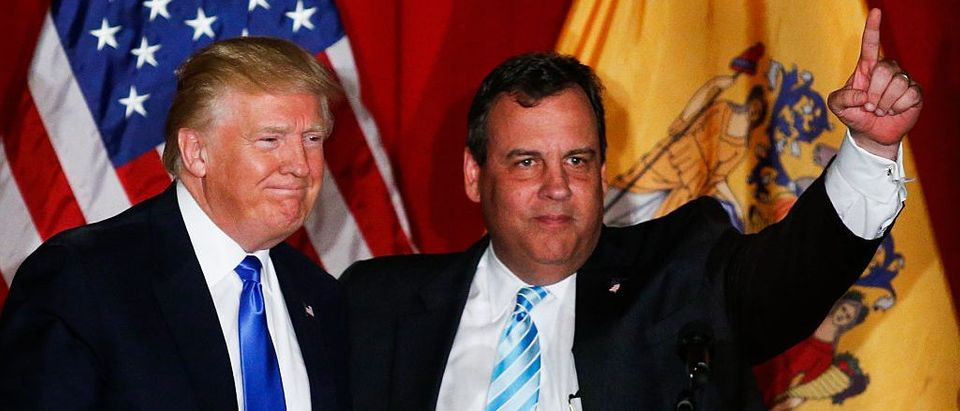 Donald Trump Chris Christie greet the crowd at a fundraising event in Lawrenceville, New Jersey (Getty Images)