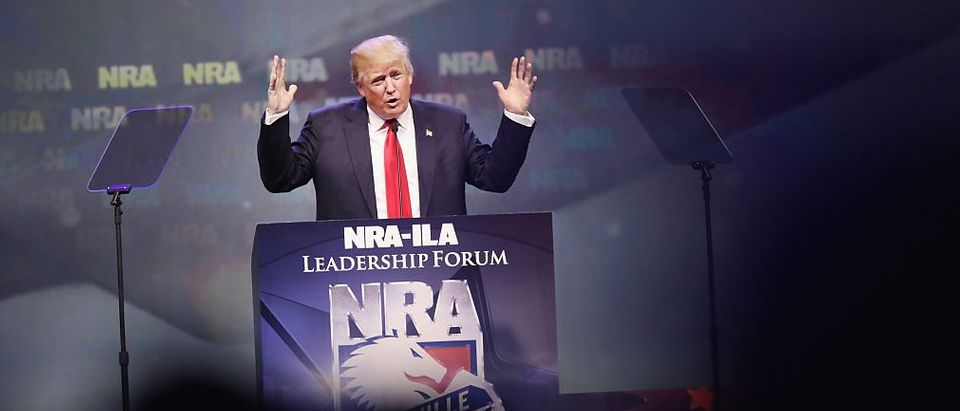 Donald Trump speaks at the National Rifle Association's NRA-ILA Leadership Forum during the NRA Convention at the Kentucky Exposition Center on May 20, 2016 in Louisville, Kentucky. The NRA endorsed Trump at the convention
