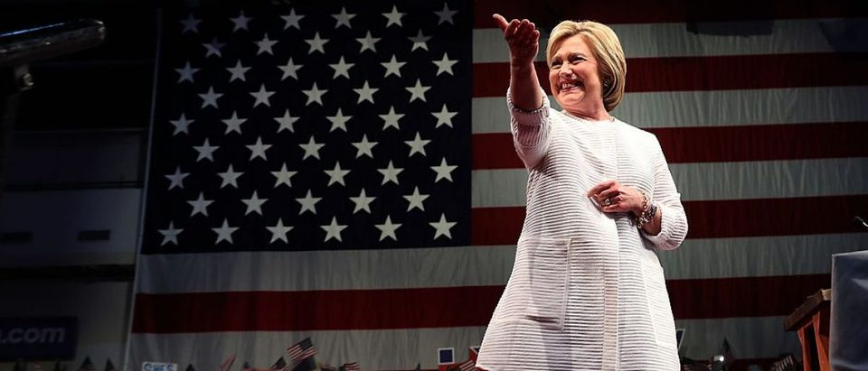 Hillary Clinton greets supporters during a primary night event on June 7, 2016 in Brooklyn, New York. (Getty Images)