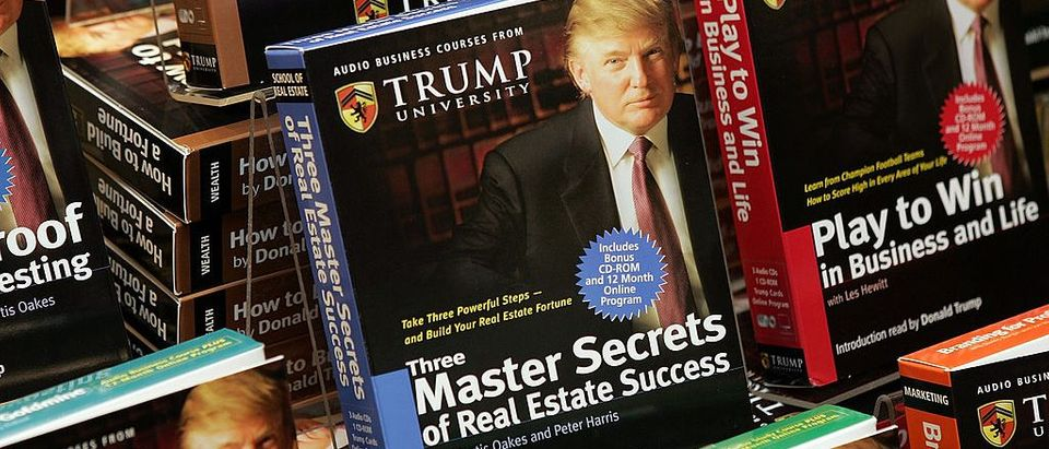 "Copies of ""How To Build Wealth,"" which is a series of nine audio business courses created by Trump University, lie on display at a Barnes & Noble store January 10, 2005 in New York City"