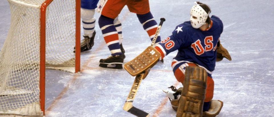 Goalie Jim Craig of the United States makes a save during the Olympic hockey game against Finland on February 24, 1980