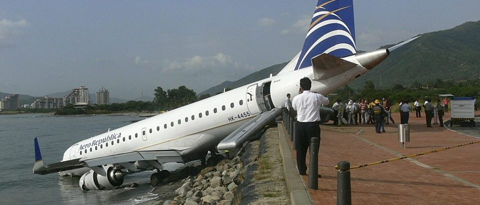 A Embraer 190 aircraft is seen after an emergency landing at Simon Bolivar airport in Santa Marta
