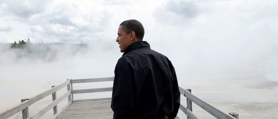 President Barack Obama visits Sunset Lake in Yellowstone National Park