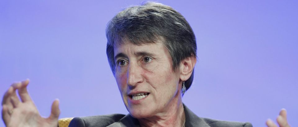 Sally Jewell speaks at the Fortune Brainstorm Green conference in Laguna Niguel, California.