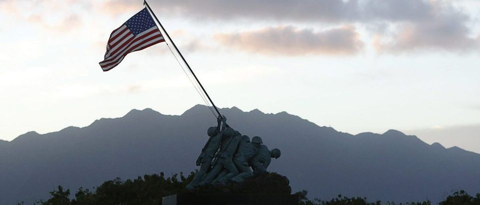 A smaller version of the United States Marine Corps Iwo Jima Memorial in Arlington, Virginia is seen at sunset at Marine Corps Base Hawaii Dec. 31, 2014