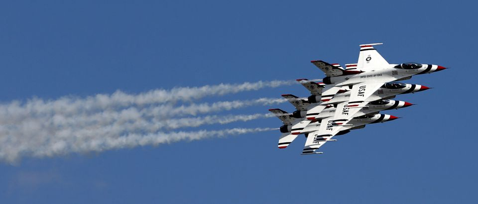 The Thunderbirds perform during the Joint Base Andrews Air Show in Washington