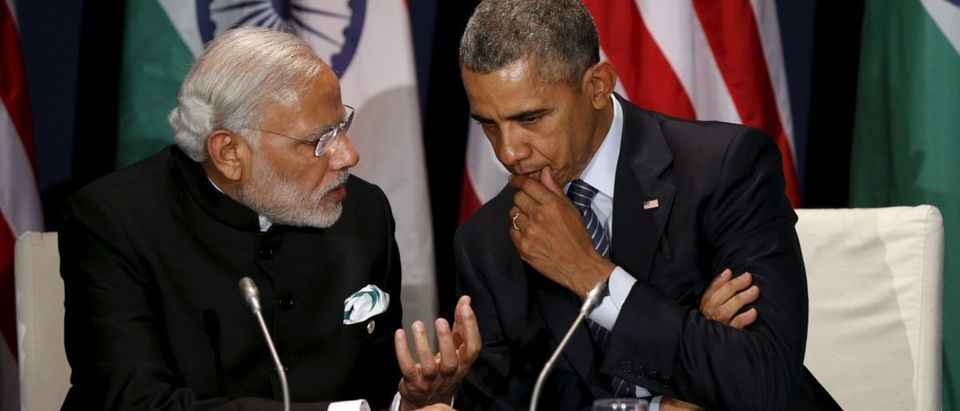 U.S. President Obama meets with Indian Prime Minister Modi at the climate change summit in Paris