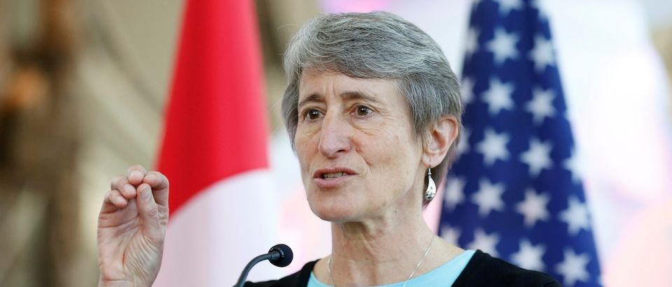 U.S. Secretary of the Interior Jewell speaks during a news conference in Gatineau